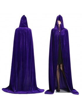 Purple Kids Hooded Cloak Cape Wizard Costume