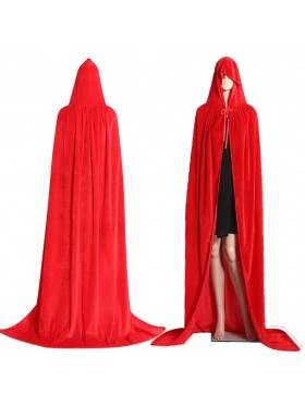 Red Kids Hooded Cloak Cape Wizard Costume