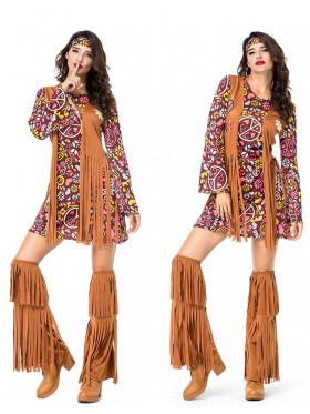 Ladies 1960s 70s Disco Retro Groovy Hippie Go Go Girl Costume