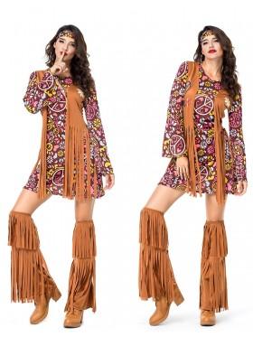 Ladies 1960s 70s Disco Retro Groovy Hippie Go Go Girl Costume