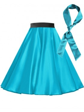 Aqua Blue Satin 1950's 50s skirt