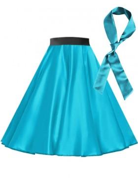 Aqua Blue Satin 1950's 50s skirt