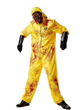 Adult  Yellow Biohazard Hooded Costume