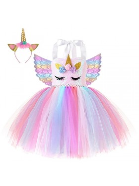 Girls Unicorn Tulle Tutu Dress