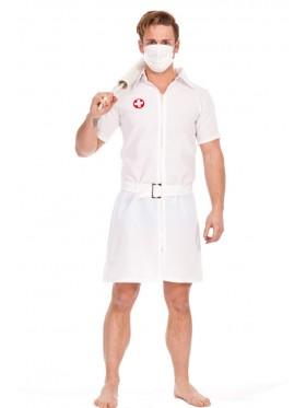 Mens Twisted Joker Nurse Fancy Dress Costume