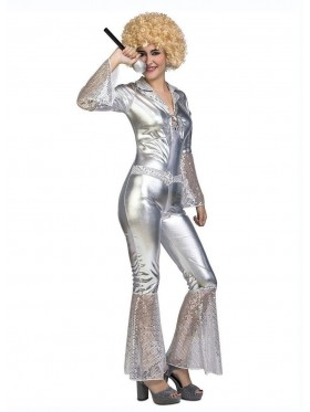 Silver 70s 80s Dancing Dream Disco Jumpsuit