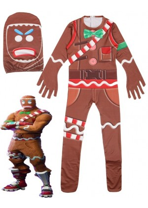 Kid Halloween Fortnite Costume MERRY MARAUDER Gingerbread Man Cosplay Jumpsuit