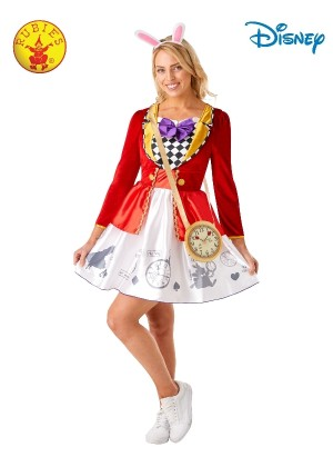 WHITE RABBIT ALICE IN WONDERLAND LADIES COSTUME ADULT
