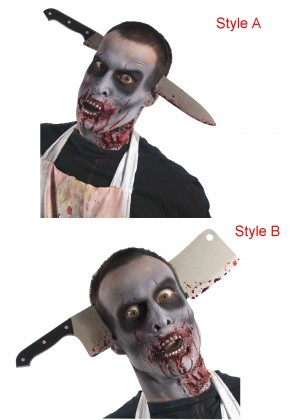 Zombie Kitchen Knife Cleaver Through Head Accessory cl3726cl3727
