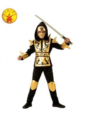 Boys Kids Gold Ninja Fighter Power Japanese Warrior Fancy Dress Costume Child Book Week