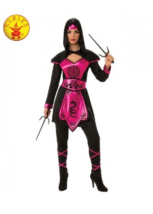 Ladies Ninja Assassin Pink Warrior Costume Womens Japanese Deadly Black Fancy Dress