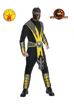 Mens Deluxe Mortal Kombat Scorpion Fancy Ninja Karate Costume