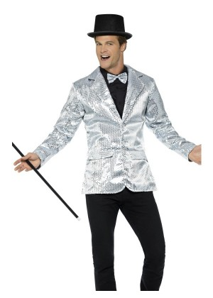 Mens Tuxedo Suit Gentleman Sequin Jacket Silver Charleston 40s Dance Coats Blazers Costume