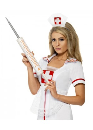 Nurse Costumes - Plastic 54cm Jumbo Syringe Injectors Nurse Smiffys Fancy Dress Halloween Costume Accessory