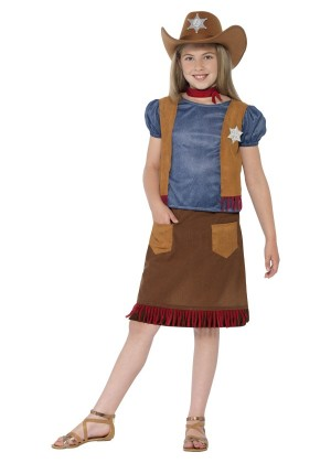 Girls Kids Western Belle Cowgirl Costume Sheriff American Wild West Fancy Dress Outfit