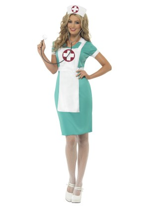 Nurse Costumes - Womens Scrub Nurse Medical Doctor ER Hospital Fancy Dress Up Party Uniform Costume