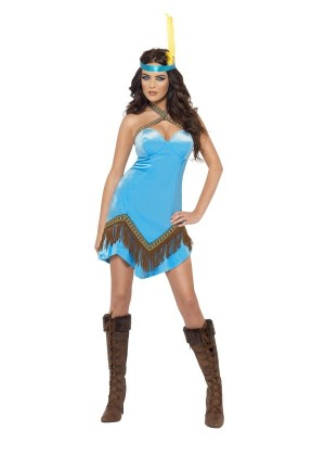 Authentic Western Indian Lady Wild West Pocahontas Squaw Costume Fancy Dress Cowgirl