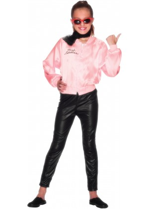 Girl Kids 50's 1950's Grease Pink Lady Satin Jacket Costume 50s Embroidery Letter