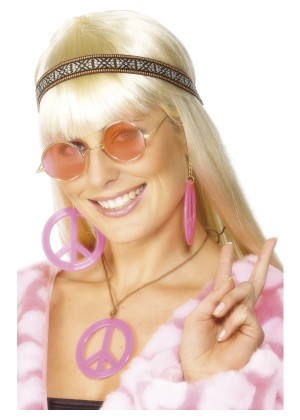 Ladies 1960s Hippy Costume Accessories 1970s Womens Hippie Kit 70s 60s Peace Medallion Earings Round Glasses