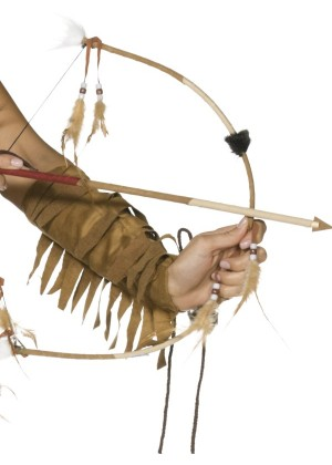 Adult Unisex Feathered Indian Bow and Arrow Set Fancy Dress Smiffys Wild West Costume Accessories cs31943