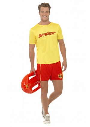 Sports Costumes - Licensed Mens Baywatch Beach Lifeguard Uniform Smiffys Fancy Dress Costume Outfits