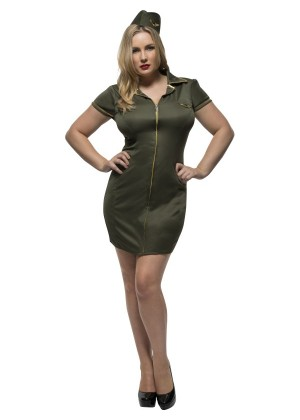 Ladies Uniform Fever Curves Army Soldier Wartime Green Dress Costume Police Cop Military Adults Plus Size Fancy Dress