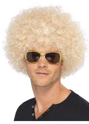 Adults Blonde Funky Afro Wig Curly 1970s Disco Halloween Costume Party Hair Disc
