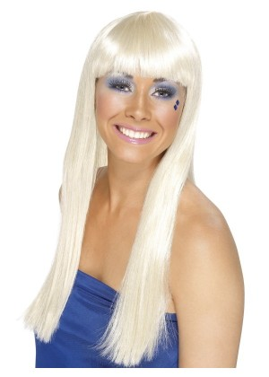 Costume Accessory Womens Ladies Abba 60's 70's 70s Disco Dancing Queen Blonde Super Trooper Long Wig