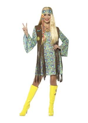 Ladies 60s Hippie Chick Disco 1970s Retro Groovy Go Go Dance Party Dress Costume