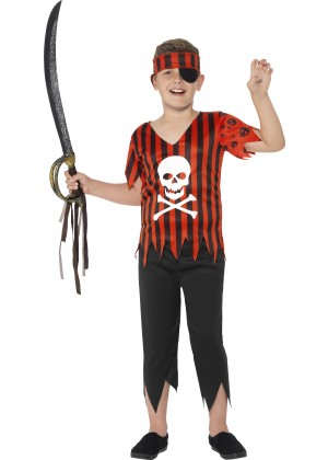 Jolly Roger Pirate Boys Costume Caribbean Buccaneer Kids Fancy Book Week Skull Halloween Party