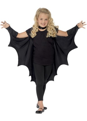Kids Black Vampire Bat Wings Cape cs44414