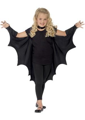 Kids Black Vampire Bat Wings Cape cs44414