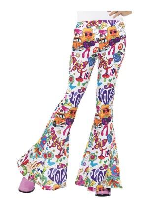 Womens 60s 70s Go Go Retro Hippie Disco Groovy Flared Trousers Pants Costume