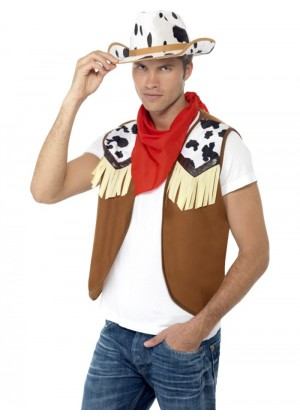 Mens Instant Wild West Costume Kit Fancy Dress Western Cowboy Hat