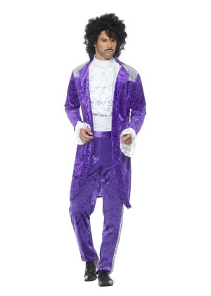 Mens Adult 80s 1980s Purple Musician Singer Prince Pop Star Fancy Dress Costume