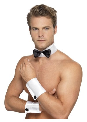 Male Stripper Set Costume Cuffs Collar & Bow Tie Sexy Waiter Fun Kit Fancy Dress Stripper Kit Hen Party