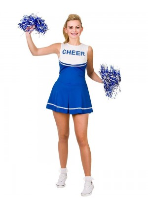 Blue Ladies Cheerleader School Girl Uniform Fancy Dress Costume