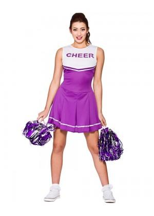 Purple Ladies Cheerleader School Girl Uniform Fancy Dress Costume
