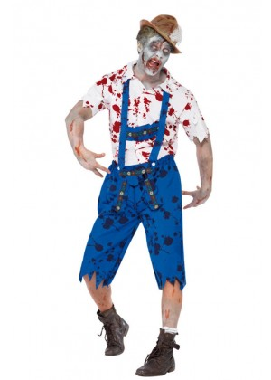 Mens Lederhosen Oktoberfest embroidery Halloween Zombie Costume