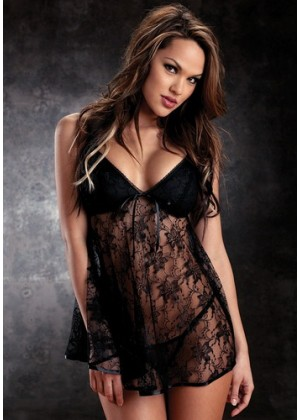 Baby Dolls - Black Lace Babydoll with thongs
