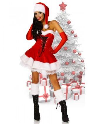 Ladies Santa Christmas Fancy Dress Costume
