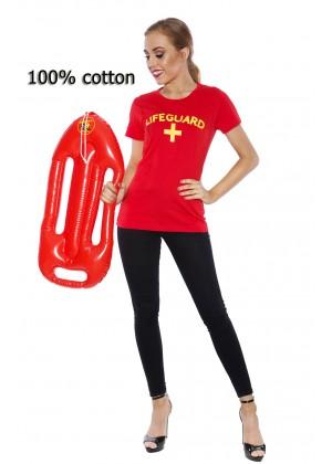 Ladies Beach Lifeguard Uniform T-shirt Fancy Dress Costume Outfits