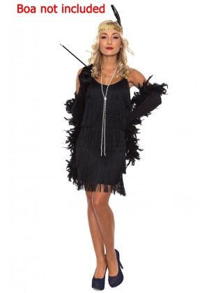 Ladies 20s 1920s Charleston Flapper Black Costume