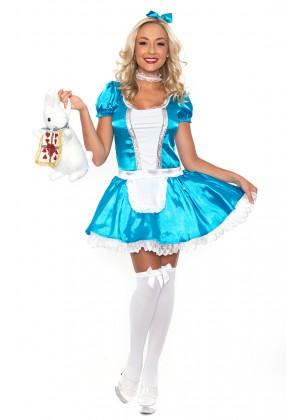 Alice In Wonderland Costumes - Ladies Alice In Wonderland Fancy Dress Halloween Full Outfit Disney Theme Costume