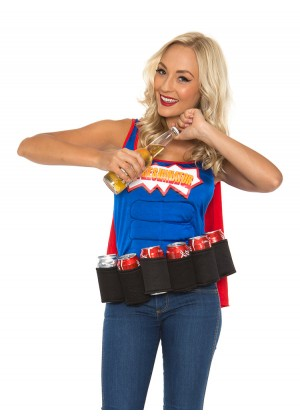 Oktoberfest Costumes Australia - Adult Oktoberfest Super Six-Pack Beer Girl Hero Superhero Halloween Fancy Dress Costume