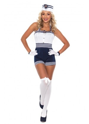 Sailor Costumes - Navy Sailor Girl Uniform Ladies Rockabilly Pin Up Fancy Dress Costume & Hat