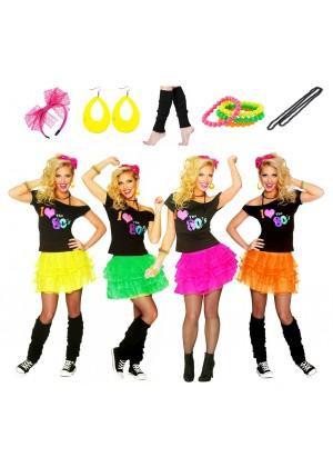 Ladies I Love the 80s T-shirt Skirt Costume Full Set lh185lh186tt1048-12vb0004tt1045-1tt1059-9tt1050