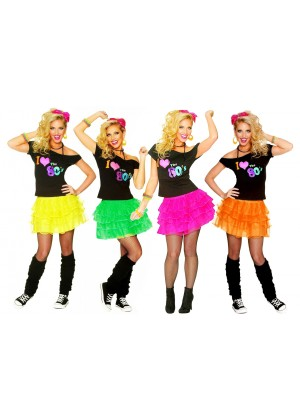 Ladies I Love the 80s T-shirt Skirt Costume lh185lh186
