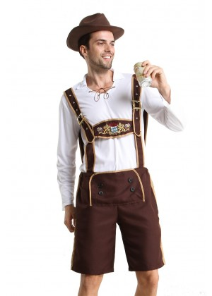 Mens Lederhosen embroidery Costume NO HAT front lh202nNOHAT