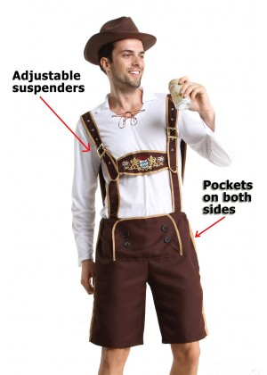 Mens Lederhosen Bavarian Oktoberfest Costume with Hat and Socks details lh202N